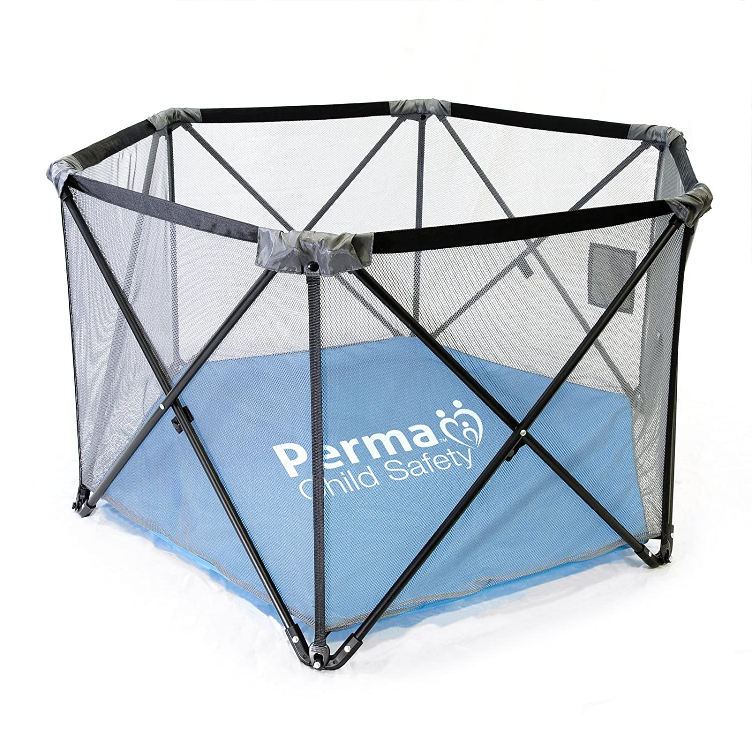 Perma Child Safety Pop Up Portable Fabric Playpen, Travel Play Yard, Black/Gray/Blue PERMA Products 2749