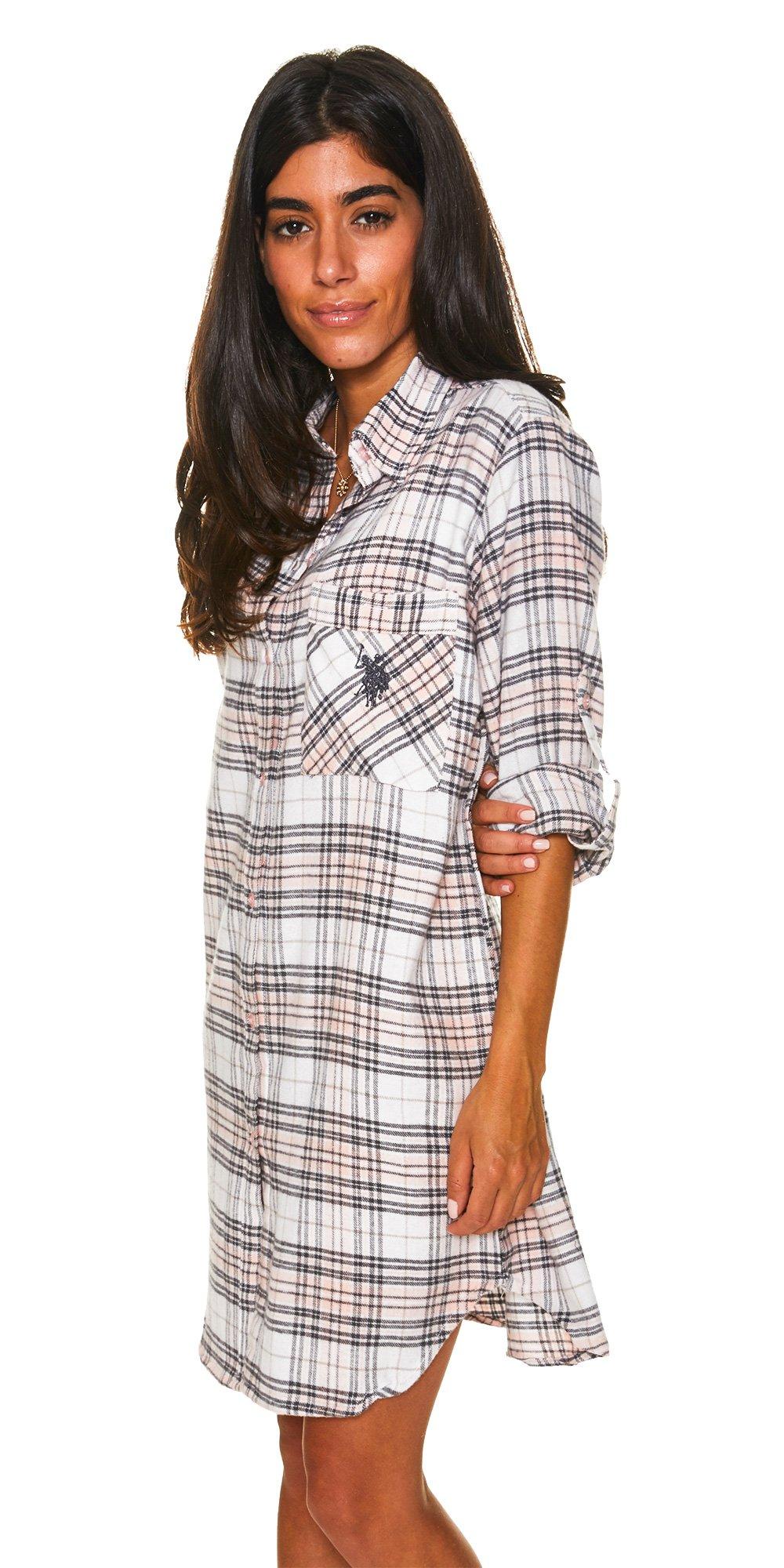U.S. Polo Assn.. Womens Button Front Long Sleeve Cotton Pajama Sleep/Night Shirt White Large by U.S. Polo Assn. (Image #1)