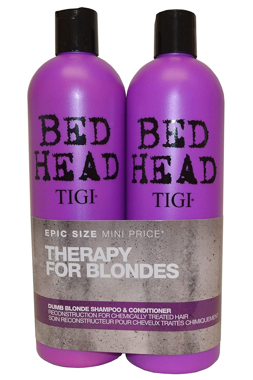 BED HEAD by TIGI Dumb Blonde Tween Duo Repair Shampoo & Reconstructor Conditioner for Coloured Hair - 750 ml (Pack of 2) 615908951059 S-TG-144-01
