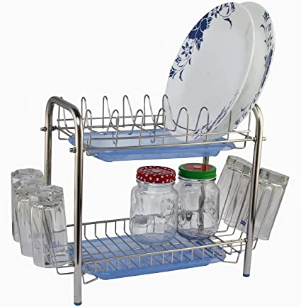 Buy Amol Stainless Kitchen Stands Small Utensils Rack Modern 6 Glass Holder Tableware With Plastic Tray For Draining Online At Low Prices In India Amazon In