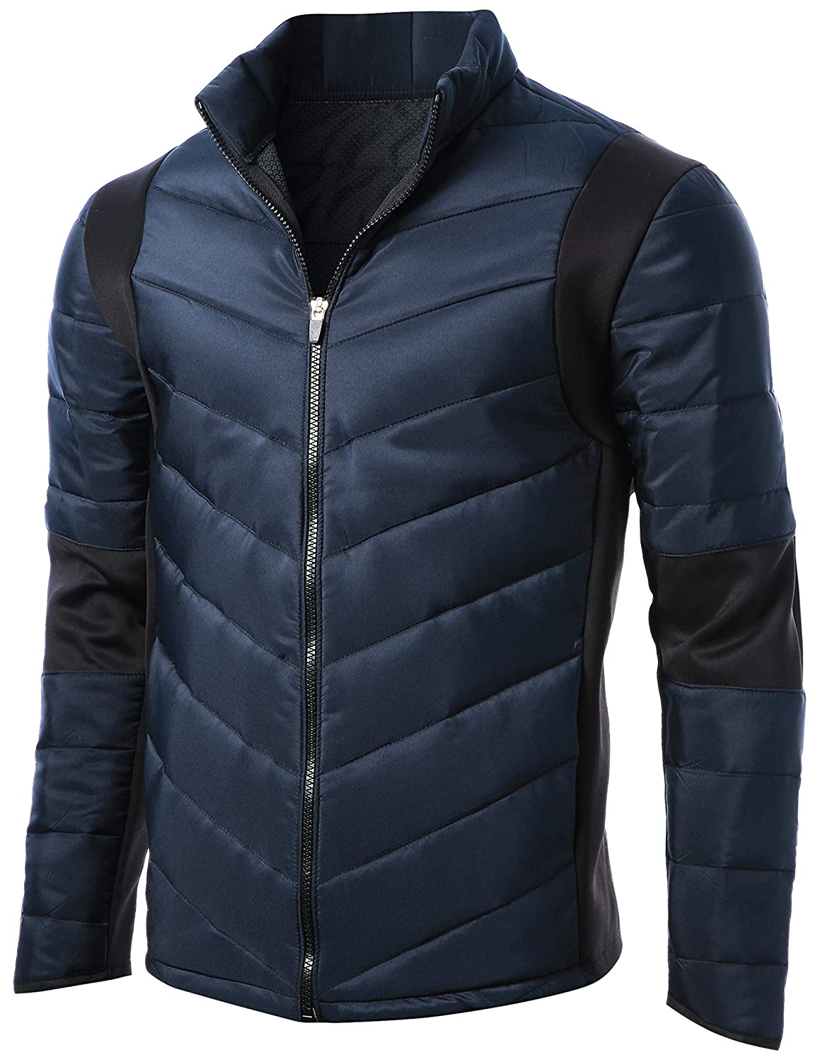 GIVON Mens Slim Fit Lightweight Activity Down Jacket with Black Accent DCJ013-NAVY-S