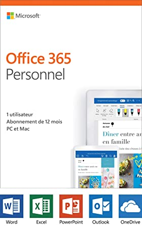 Microsoft Office 365 Personal, 12-Month subscription, 1 Person, PC/Mac  French
