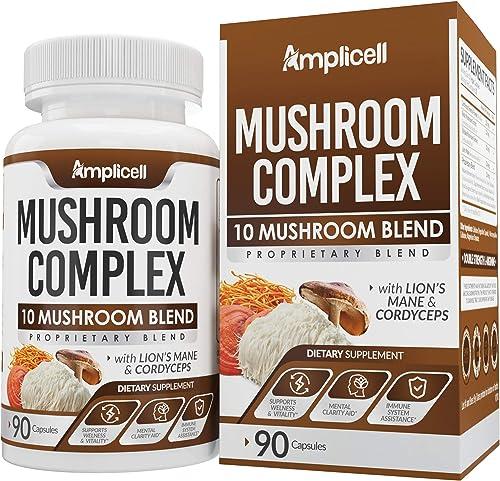 Mushroom Complex 90 caps – Blend of 10 Organic Mushrooms – Immune Booster Wellness Formula – Chaga Mushroom, Chaga, Cordyceps, Turkey Tail, Shiitake, Lion s Mane, Maitake Reishi Mushroom Capsules