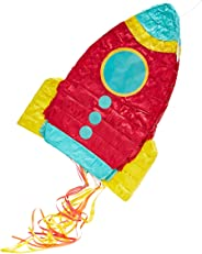 Juvale Small Rocket Ship Pinata, Kids Space Themed Birthday Party Supplies, 16.5 x 12.5 x 3 Inches
