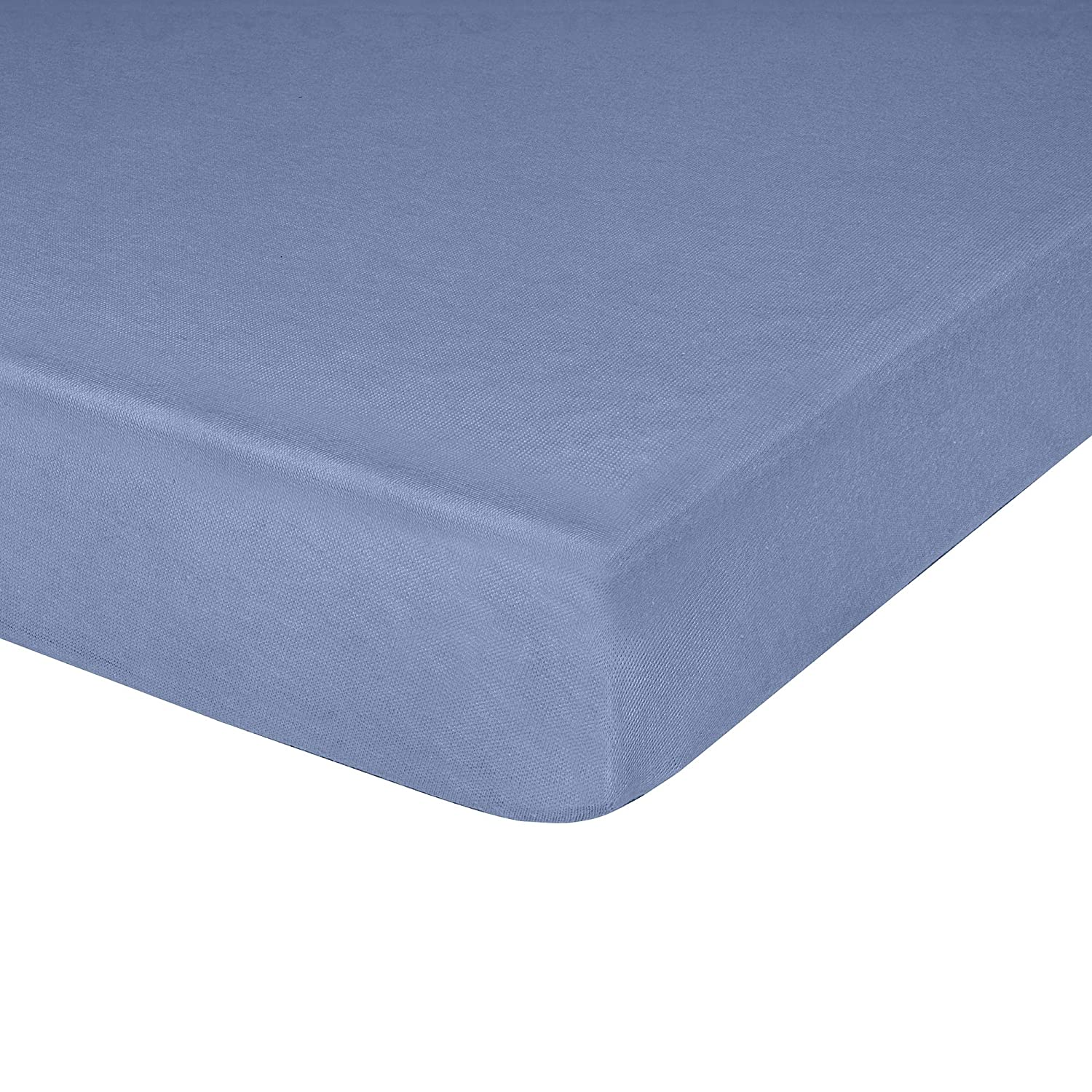 """IDEAhome Jersey Knit Fitted Cot Sheet, Soft Material, Suitable for Bunk Beds, Camping, RVs, Folding Beds, Boys & Girls, 75"""" x 33"""" with 8"""" Pocket, Denim, 1 Pack"""