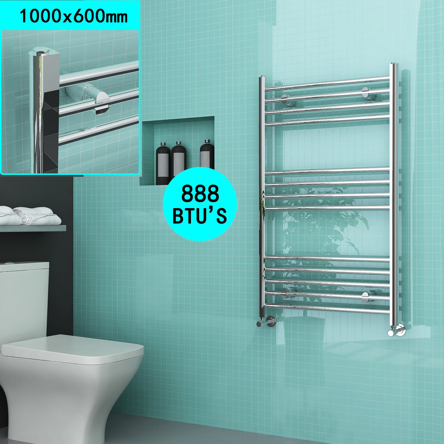 600 x 500 mm Chrome Straight Towel Rail Radiator Bathroom Heated Towel Radiator ELEGANT