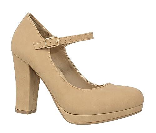 76a6c978587ef MVE Shoes Women's Ankle Strap Almond Toe Pumps-Shoes