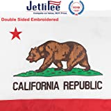 Jetlifee California State Flag 3x5 Ft by U.S. Veterans Owned Biz. Double Sided Embroidered Sewn Stripes and Brass Grommets Best 3 x 5 Foot USA Flag and California Flag for Outside