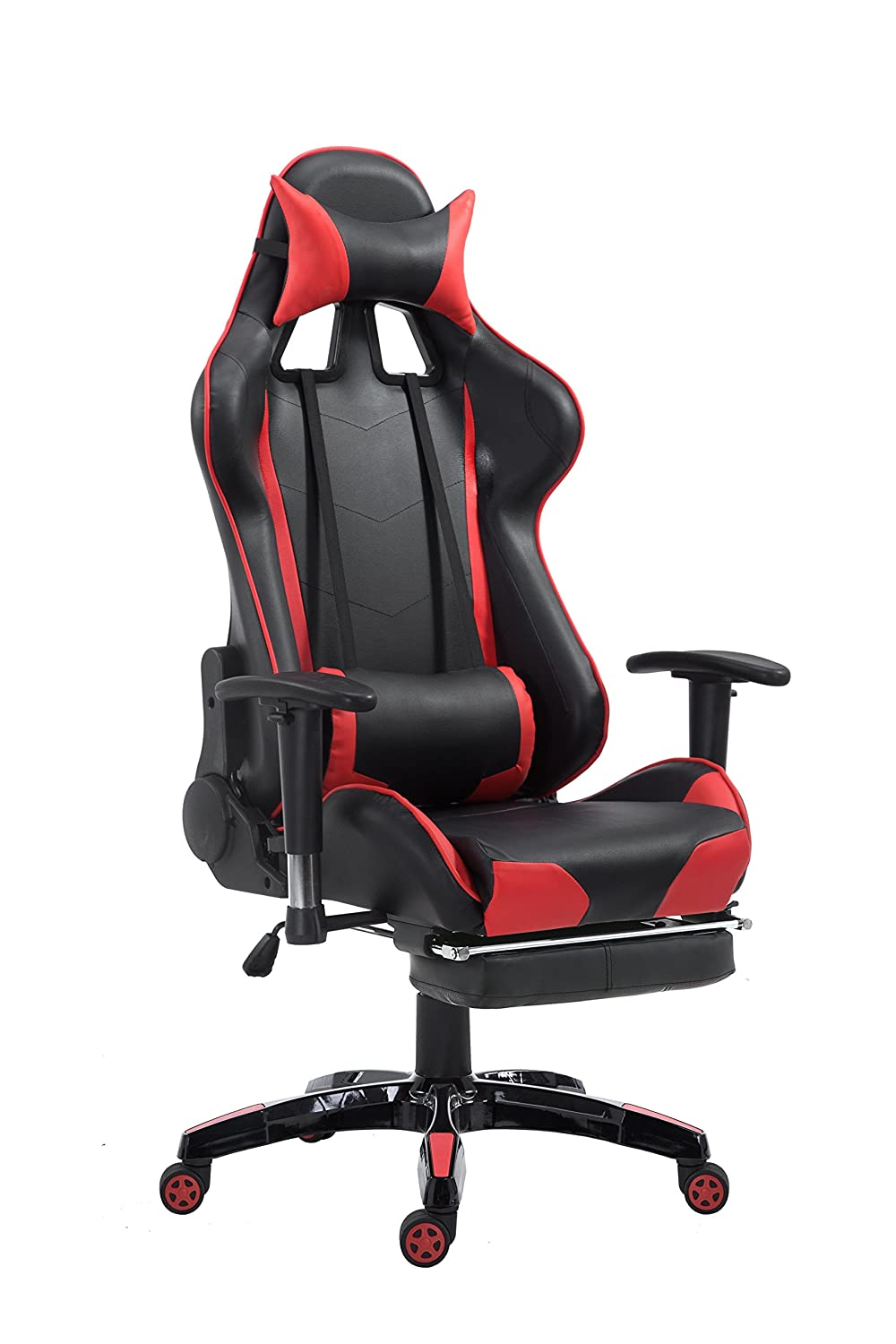 Yakoe Recliner Office Computer Sports Gaming Racing High Back Footrest Headrest Swivel Chair, Faux Leather, Black/Red, 69x70x130 Cm by Amazon