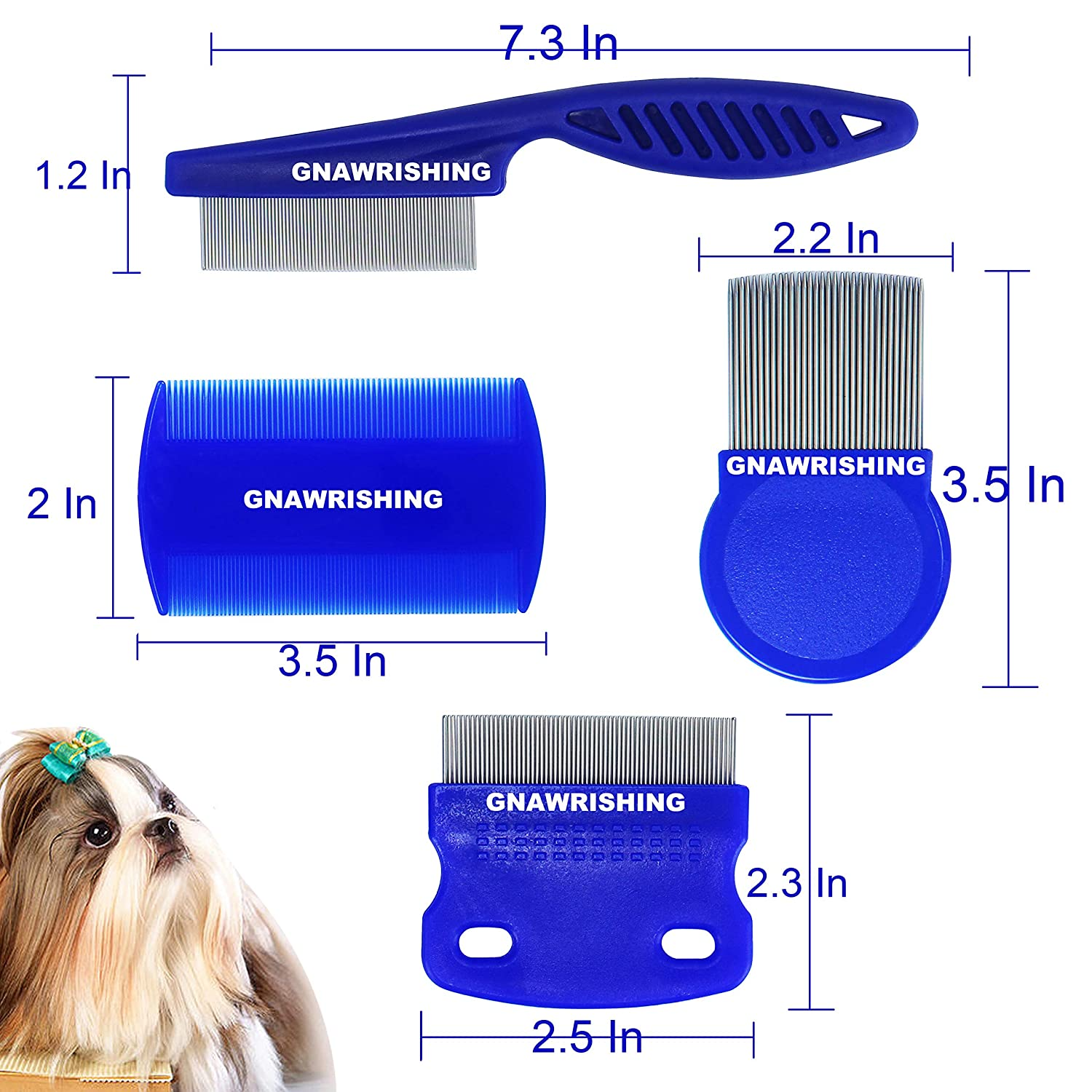 SKYPIA 4 Packs Combs Double Sided Pet Combs Grooming Flea Tick Lice Dandruff Removal Fine Tooth Hair Combs for Cats Dogs Puppy