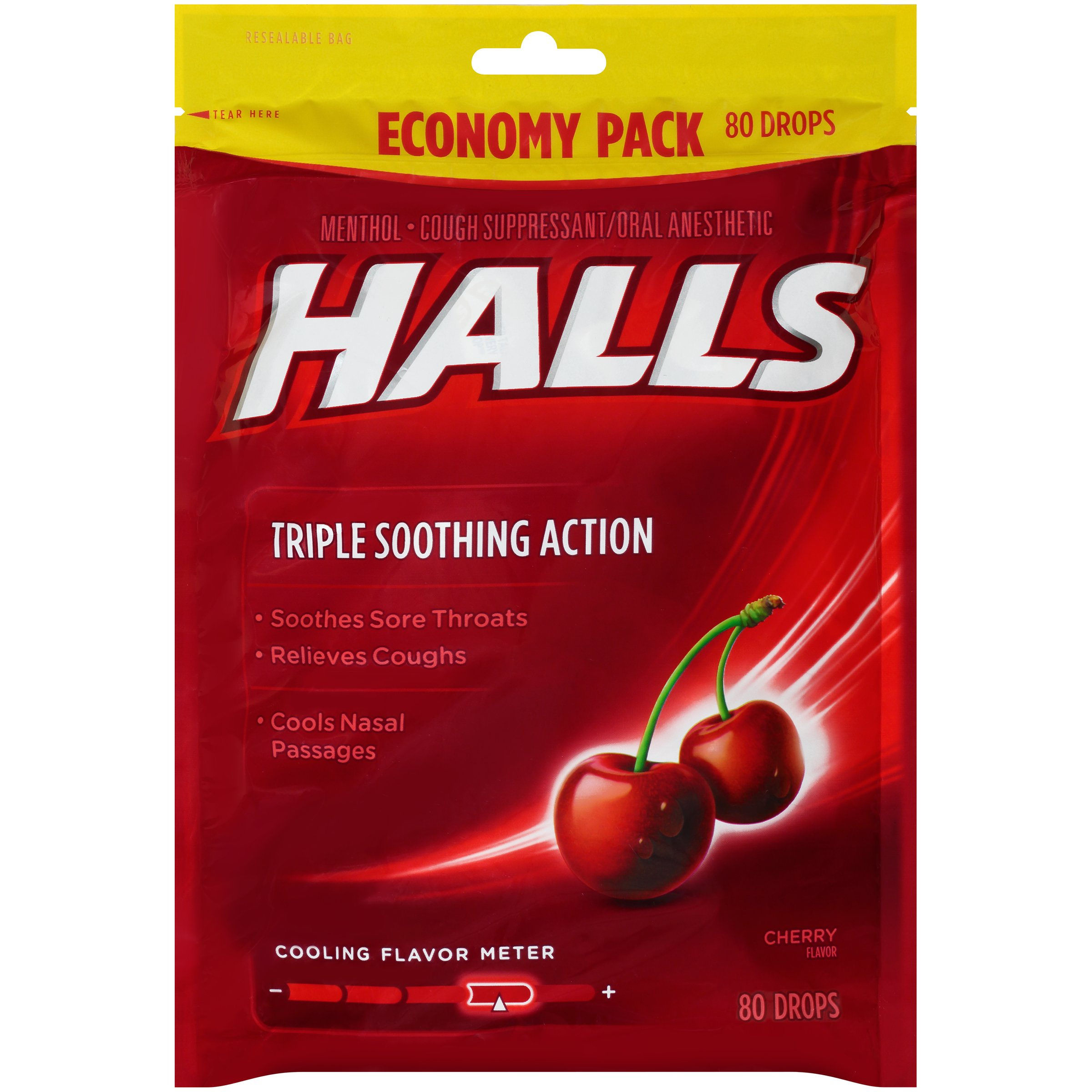 HALLS Cough Drops, (Cherry, 80 Drops, 12-Pack)