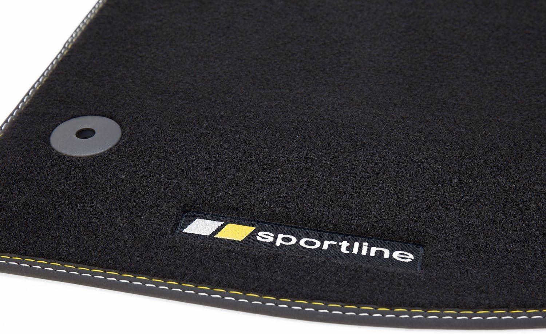 tuning-art BF105 Fu/ßmatten mit Sportline Design Bandeinfassung und Ziern/ähten