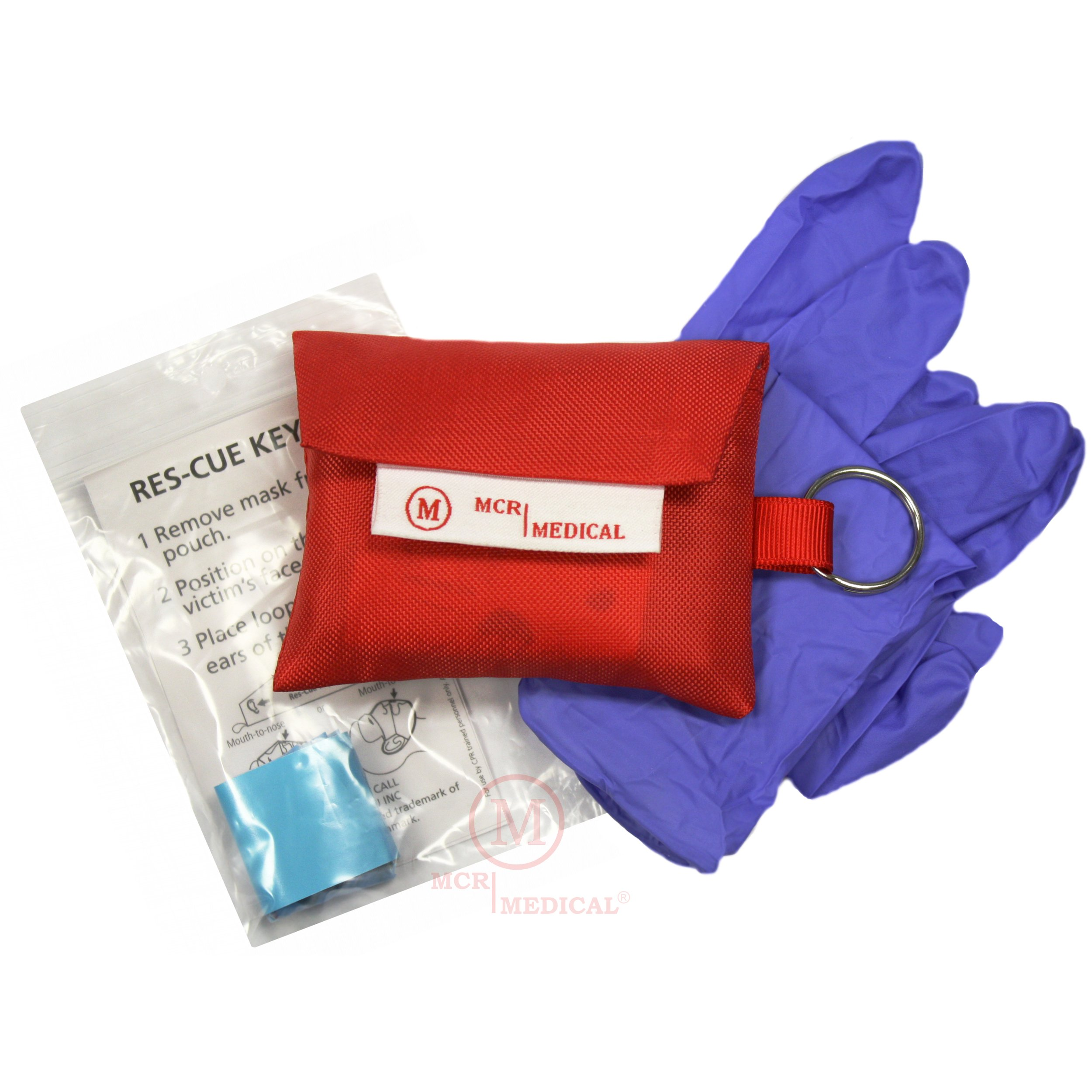 CPR Mask Keychain with Nitrile Gloves (Pack of 10), MCR Medical