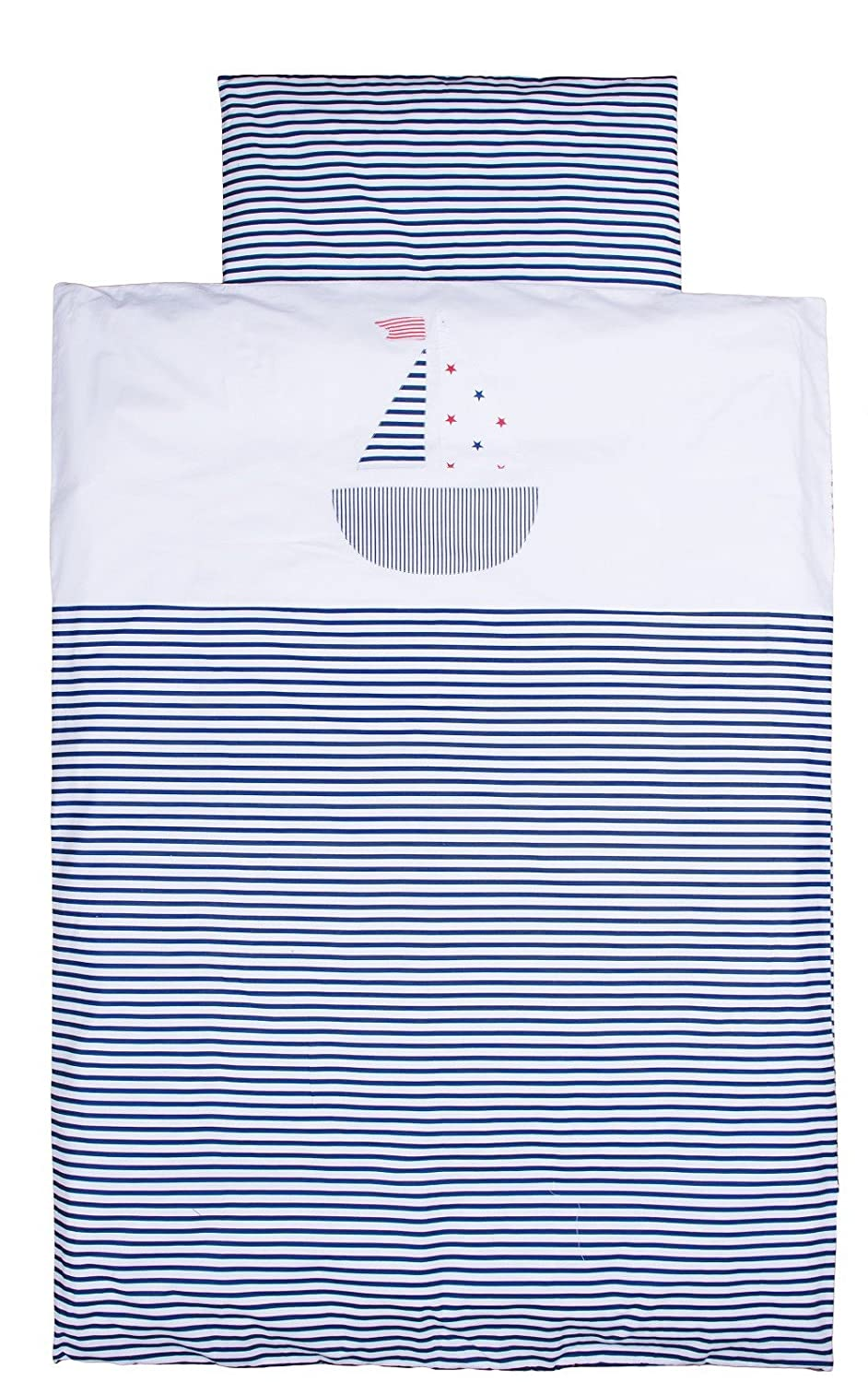 Vizaro - Duvet Cover Bedding Set (90x120cm, 30x60cm) for COT (60x120cm) - 100% Luxury Cotton - Made exclusively in the European Union, fabrics successfully tested for harmful substances - Collection Little Sailing Boat