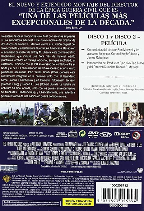 Dioses y generales [DVD]: Amazon.es: Jeff Daniels, Stephen ...