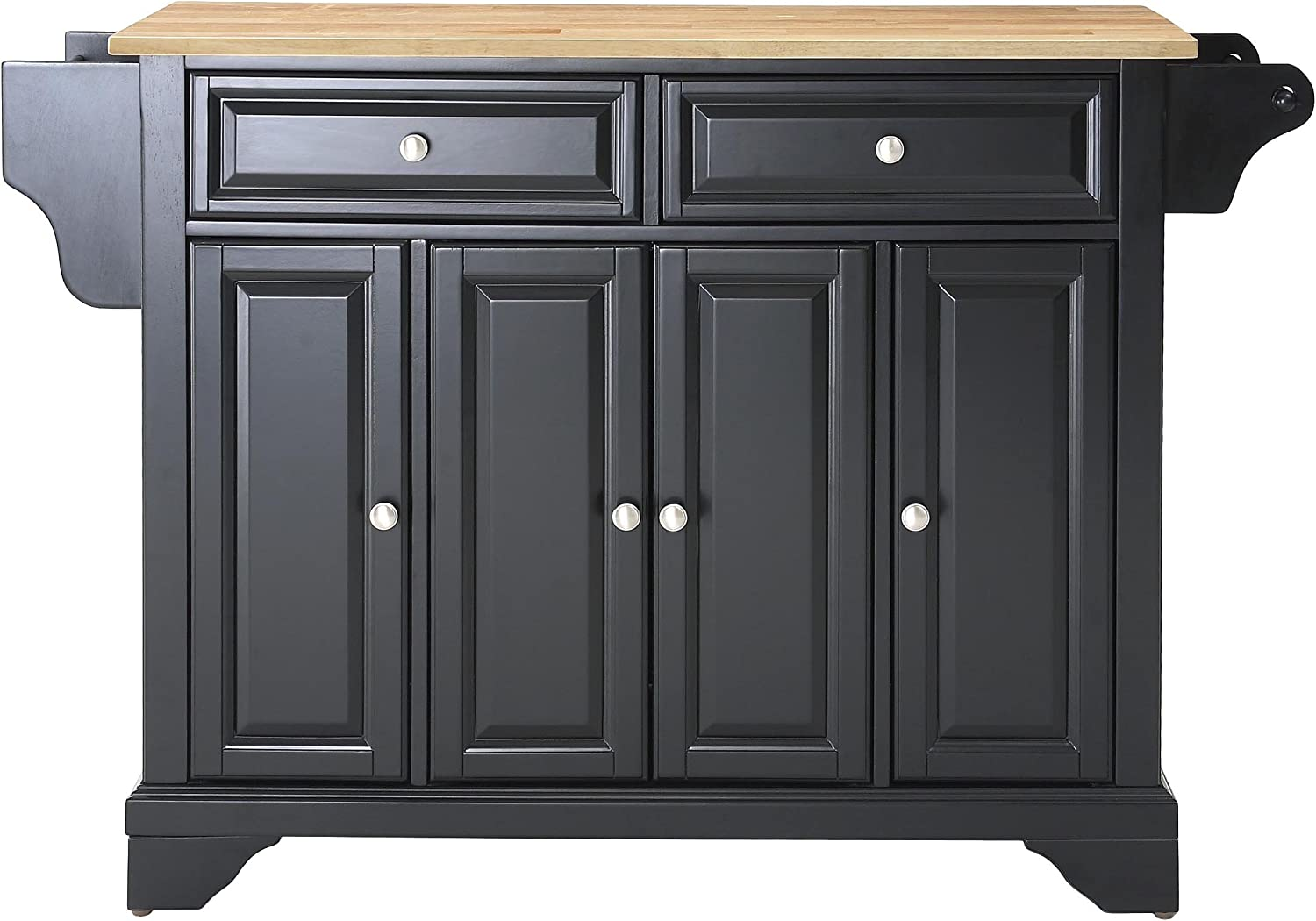 Crosley Furniture Lafayette Full Size Kitchen Island with Natural Wood Top, Black