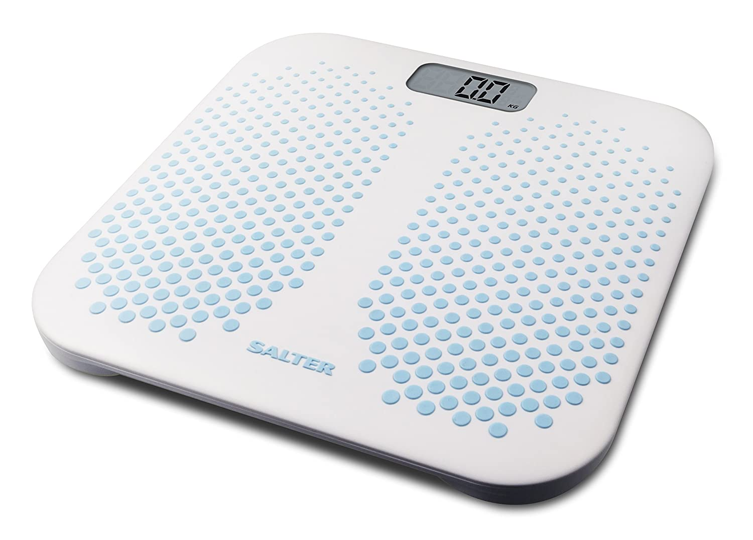 Salter Anti-Slip Digital Bathroom Scales – Large Textured Rubber Platform, High Capacity Weighing Scale with Carpet Feet, Step-On for Instant Weight Reading, Batteries Included, 15 Year Guarantee FKA Brands Ltd 9096 BL3R