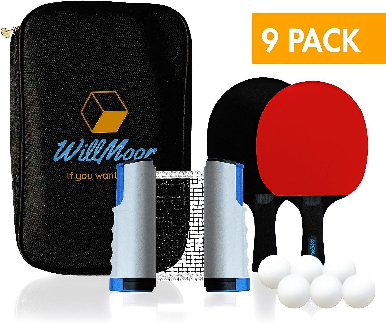 WillMoor - Juego de 9 Raquetas de Ping Pong para Mesa, Tenis de ...