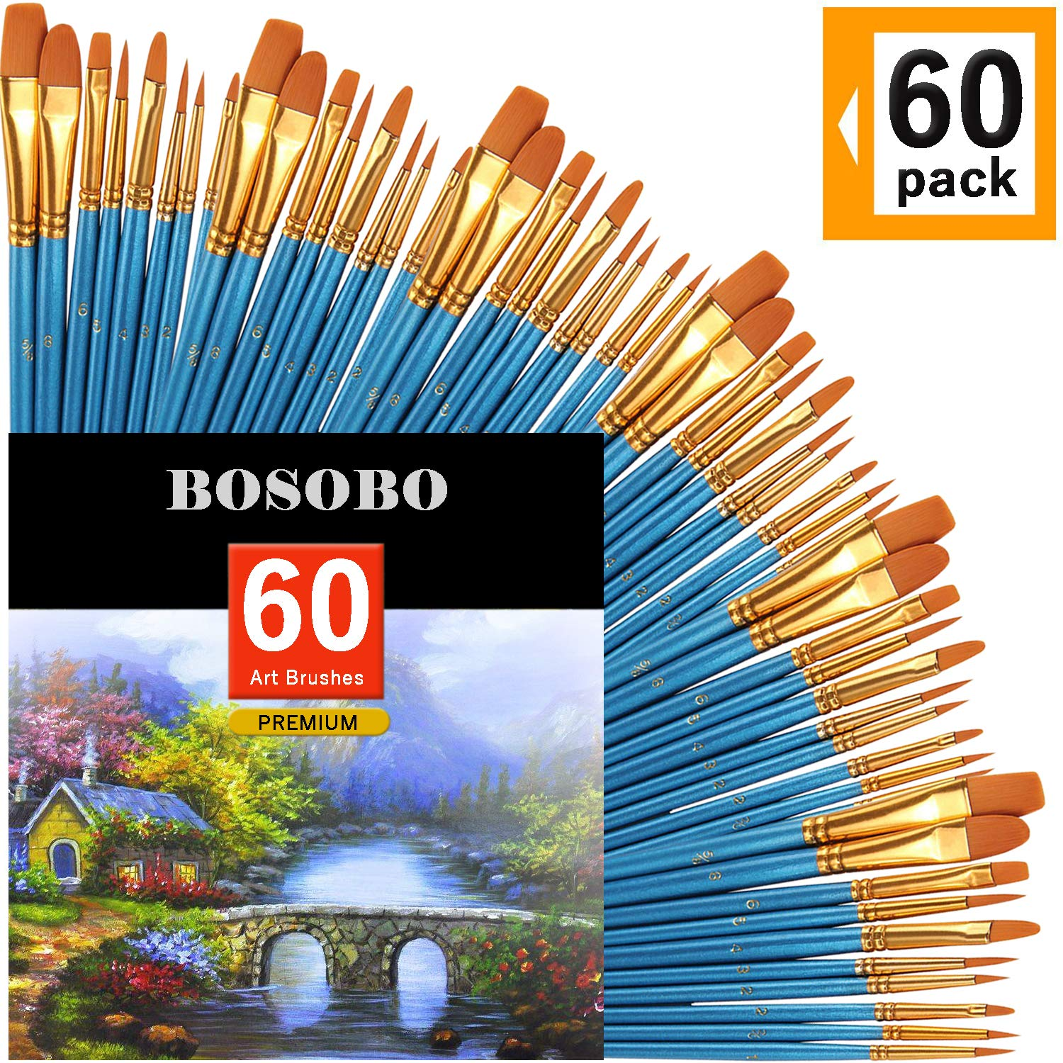 BOSOBO Paint Brush Sets, 6 Pack 60 Pcs Pointed-Round Tip Paintbrushes Nylon Hair Artist Acrylic Paint Brushes for Acrylic Watercolor Oil, Face Art, Model, Miniature Detailing & Rock Painting, Blue by BOSOBO