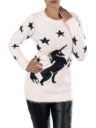 brand new d4c21 dba50 N608 Damen Long Pullover Kuschel Pulli Strick Zottel Flausch ...