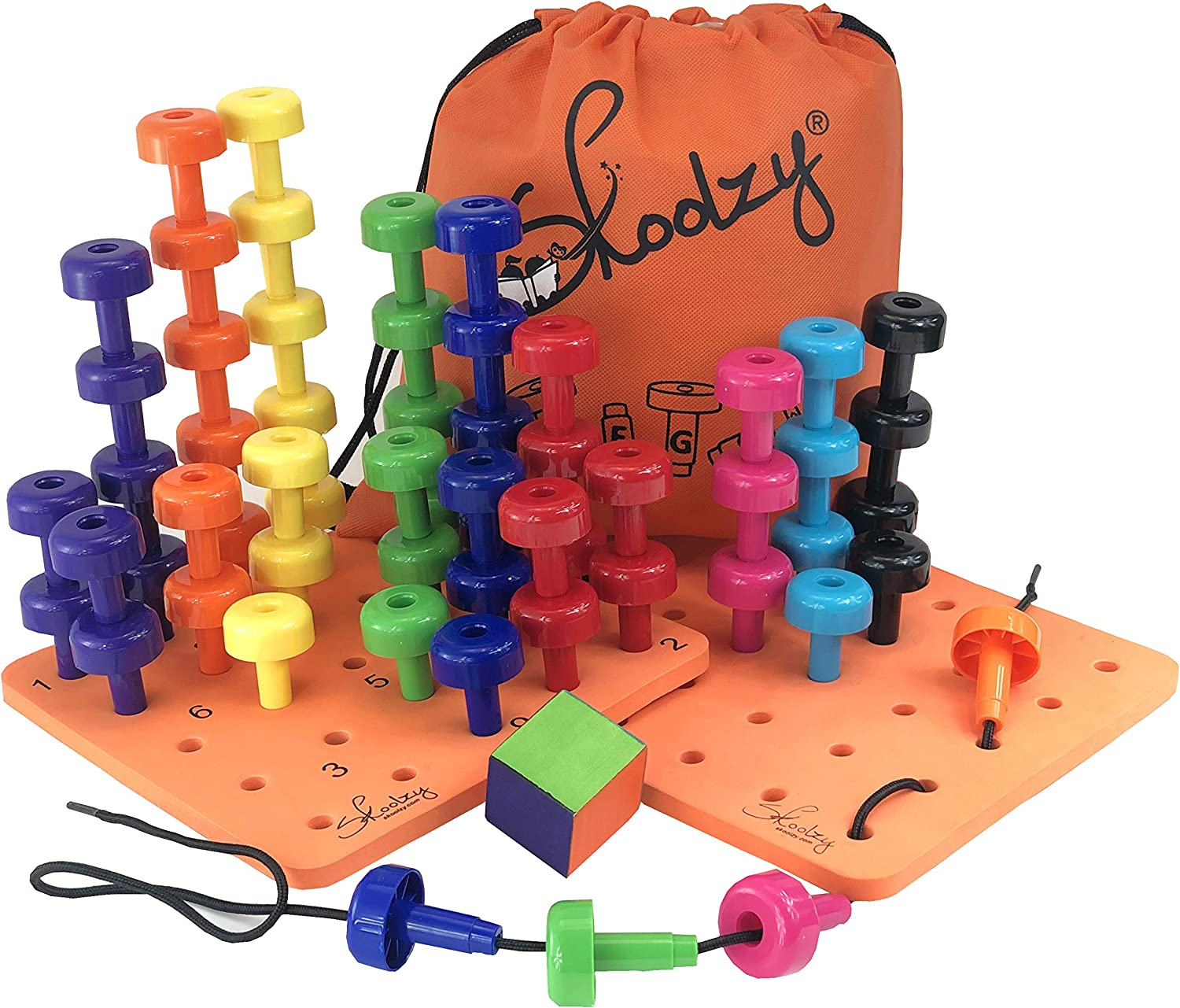 Montessori Peg Board Toddler Occupational Therapy Fine Motor Skills Toys - Skoolzy Counting, Color Sorting Toy for Girls, Boys Ages 18 Months+ | 60 Pegs Sensory Stacking Blocks, Dice, Lacing, Ebook