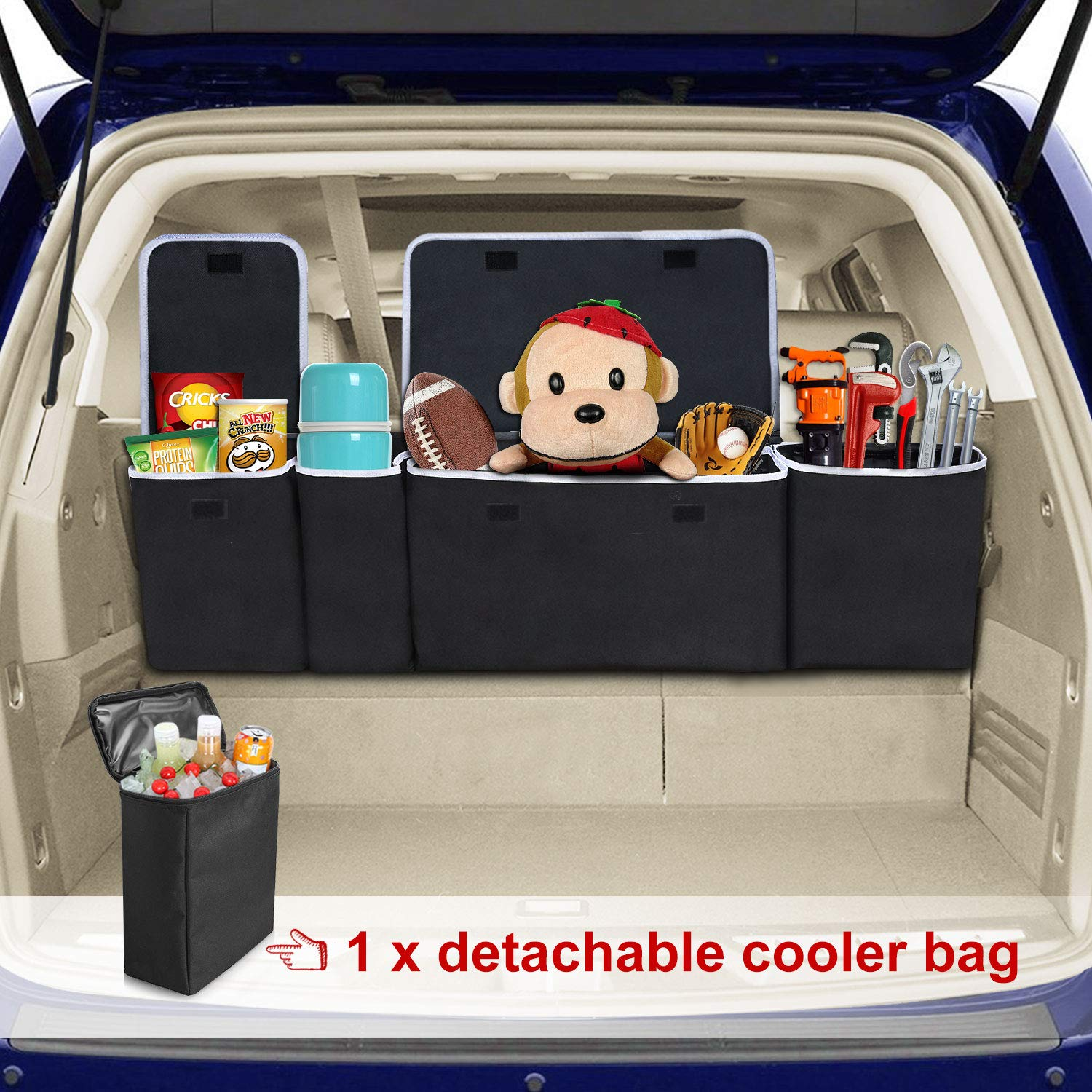 MODOKIT Large Trunk Organizer with Cooler for Car SUV Van Auto, Trunk Storage Container Durable Lids, Adjustable Straps and Large Pockets Accessories by MODOKIT