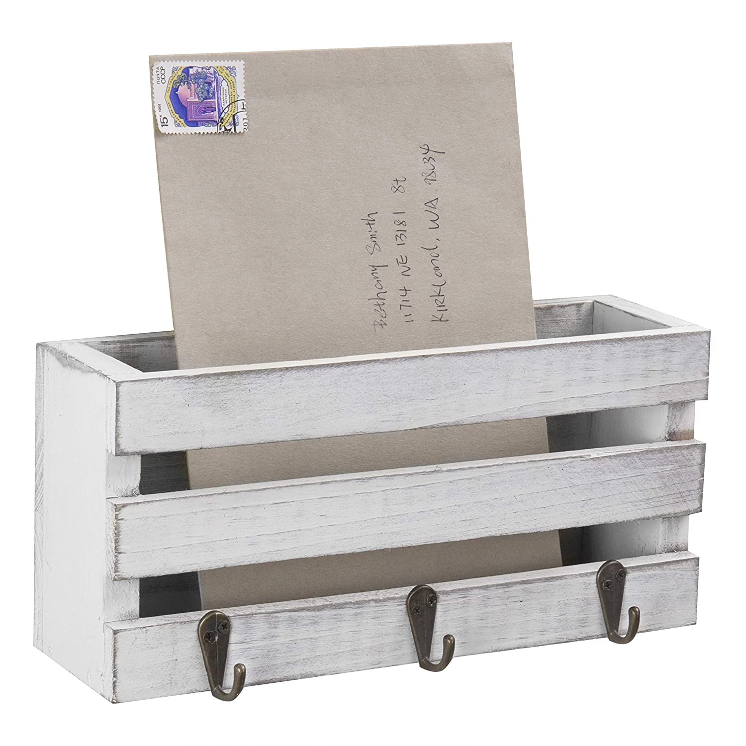 MyGift Vintage White Crate-Style Wall-Mounted Mail Sorter with 3 Key Hooks