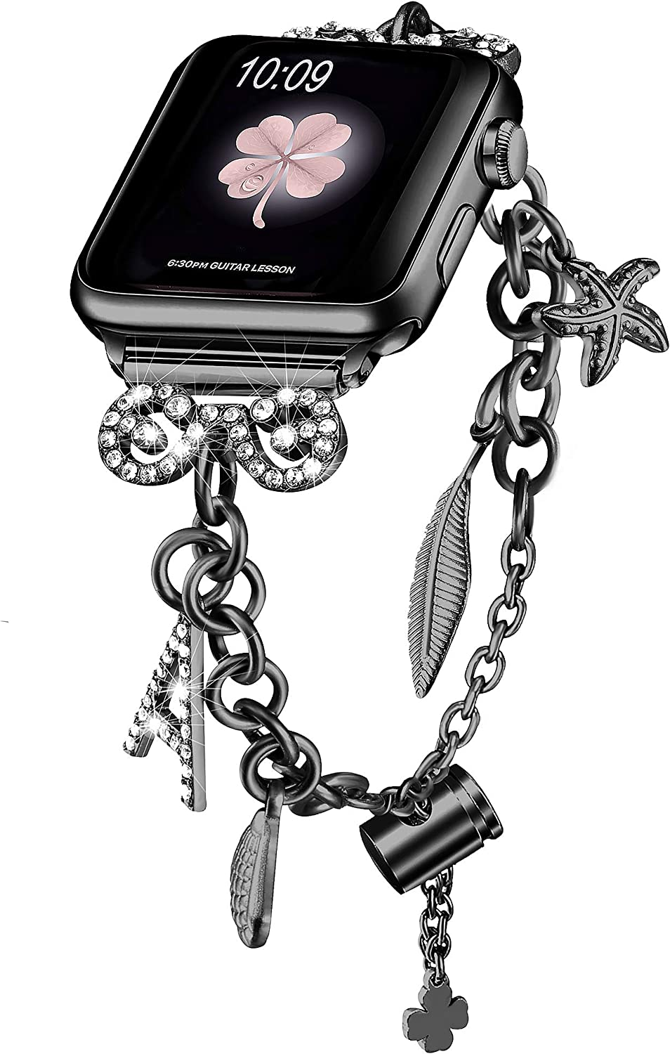 Secbolt Bling Bands Compatible with Apple Watch Bands 38mm 40mm iWatch SE Series 6/5/4/3/2/1, Women's Multi-Charm Adjustable Bracelet in Stainless Steel, Black