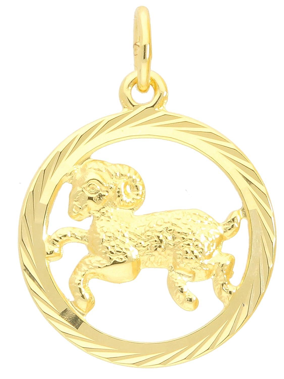 MyGold Sternzeichen Anhänger Widder (Ohne Kette) Gelbgold 333 Gold (8 Karat) Diamantiert Innen Offen Ø 15mm Rund Tierkreiszeichen Horoskop Goldanhänger Geschenke Geschenkideen Gavno A-04433-G302-Wid