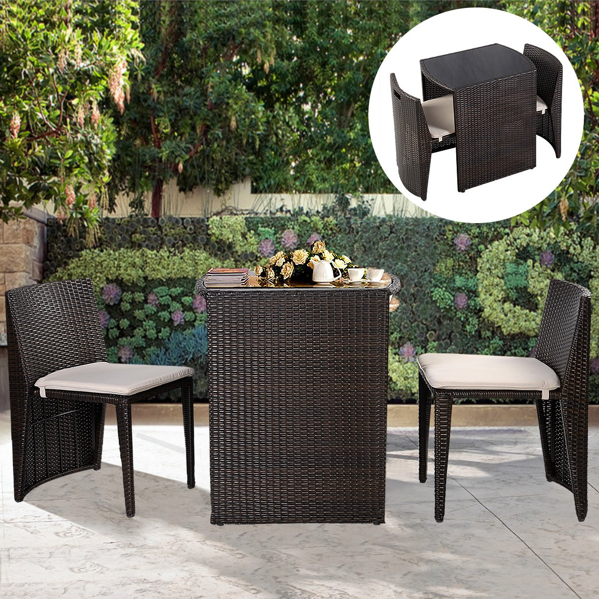 Amazon.com : Goplus 3 PCS Cushioned Outdoor Wicker Patio Set Seat Brown  Garden Lawn Sofa Furniture New : Garden U0026 Outdoor