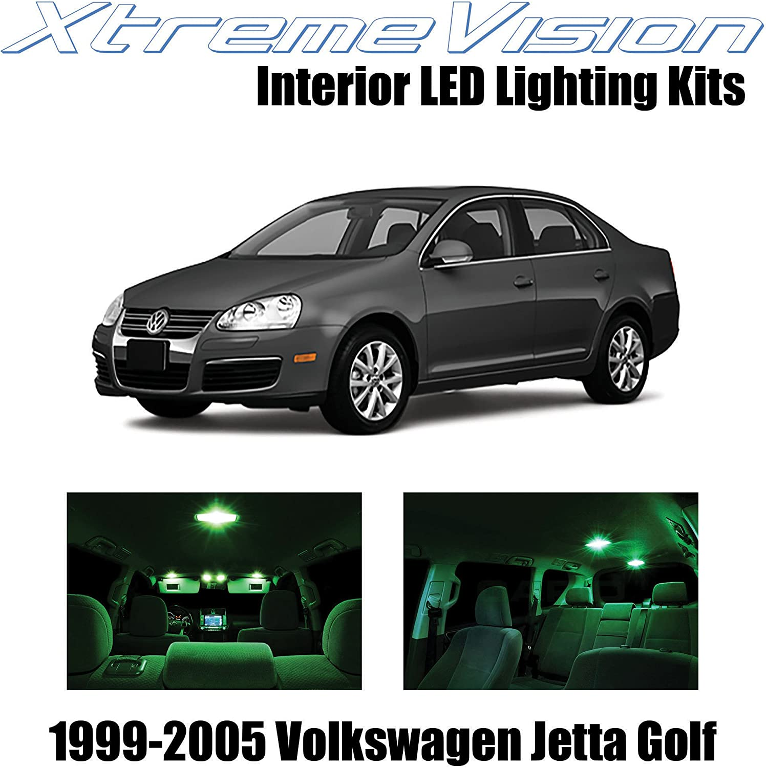 amazon com xtremevision interior led for volkswagen jetta golf 1999 2005 12 pieces green interior led kit installation tool automotive amazon com