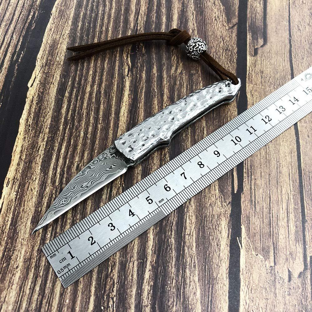 AUBEY Cuchillo Plegable Cuchillo para Outdoor Cuchillo de Bolsillo EDC Plateado Cuchillo Afilado Carpeta peque/ña Mini