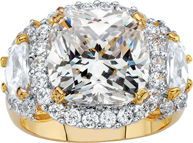 Palm Beach Jewelry 14K Yellow Gold Plated Oval Cut Cubic Zirconia Halo Ring