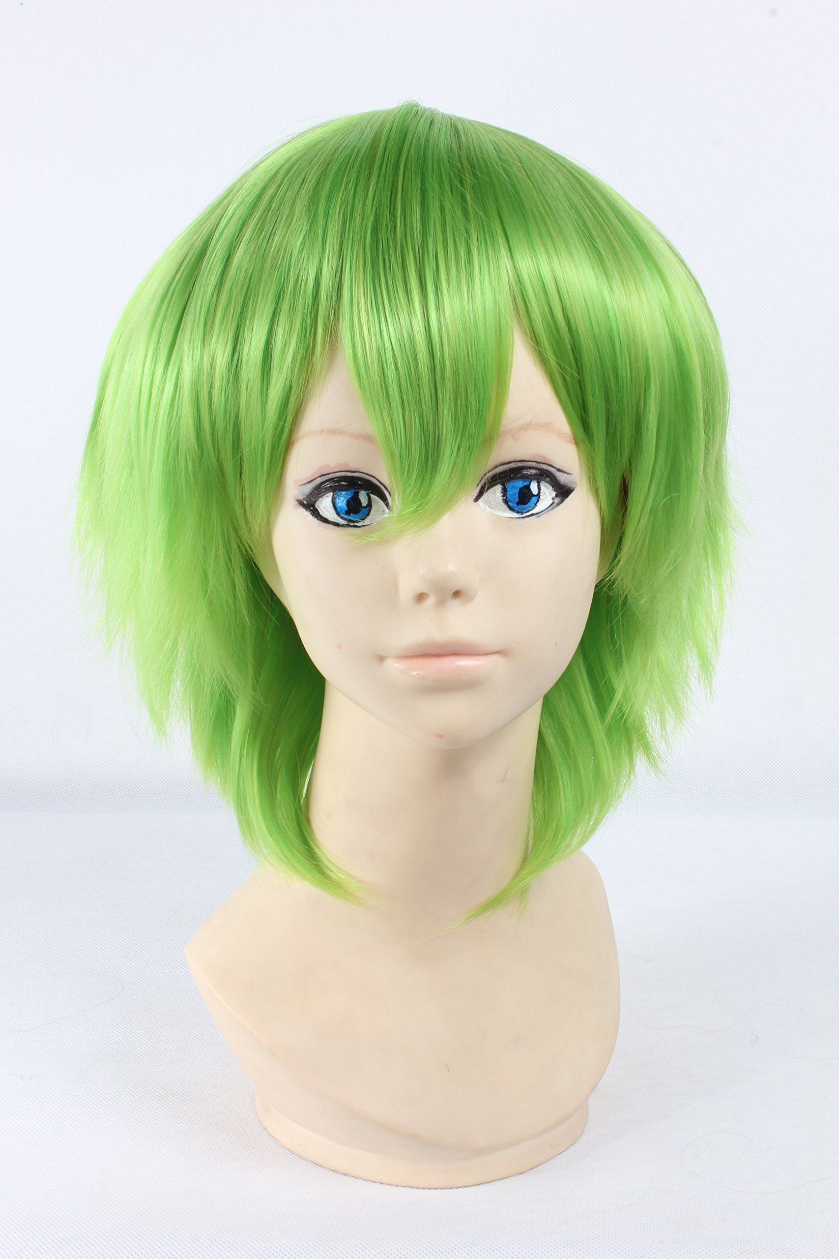 Coolsky Wigs Cosplay Lace Front Short Green Wig Costume Wig