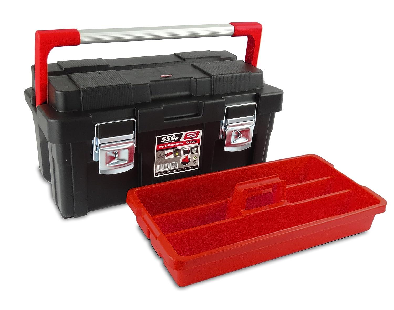 Tayg 173004 Caja de herramientas de pl/ástico-aluminio 650-E 650 x 300 x 295 mm. negro