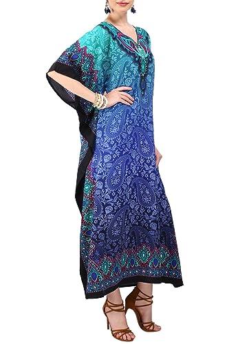 Kaftan Tunica Kimono Abito Pigiami Camicia Da Notte Donne Da Sera Estivo Lungo Maxi Festa Plus Tagli...
