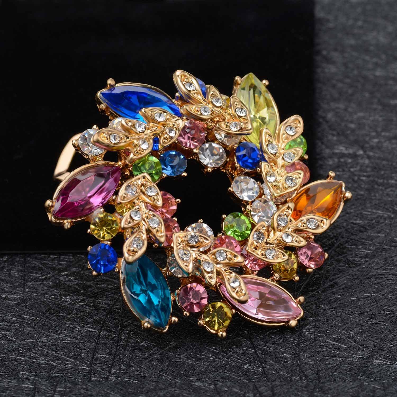 Wonvin broche femme papillon boucle pour pull scraf manteau avec Perle en cristal 18 carats plaqu/é or