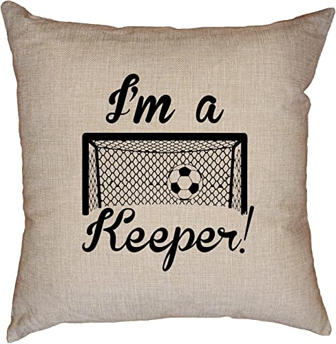 Hollywood Thread I m A Keeper – Soccer Ball with Cursive Lettering Goalkeeper Decorative Linen Throw Cushion Pillow Case with Insert