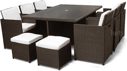 ROE Jardines – PREMIUM ratán Conjunto de comedor grande, Cube 10 asientos Muebles de jardín patio porche, Brown & Parasol: Amazon.es: Jardín