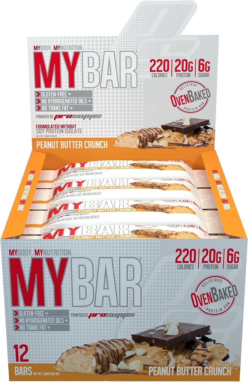 Pro Supps - Barra de proteína de cacahuate crujiente al horno MyBar - 12 Bares