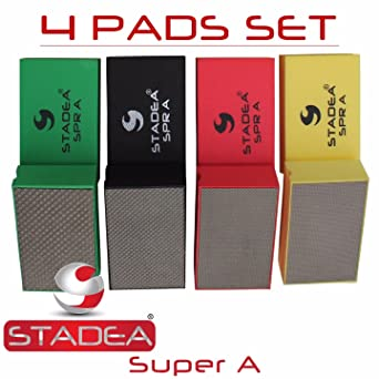 7 Pads 1 Backing Pad Set Stadea HPW110H Diamond Hand Polishing Pads Flexible for Concrete Glass Marble Stone Polishing