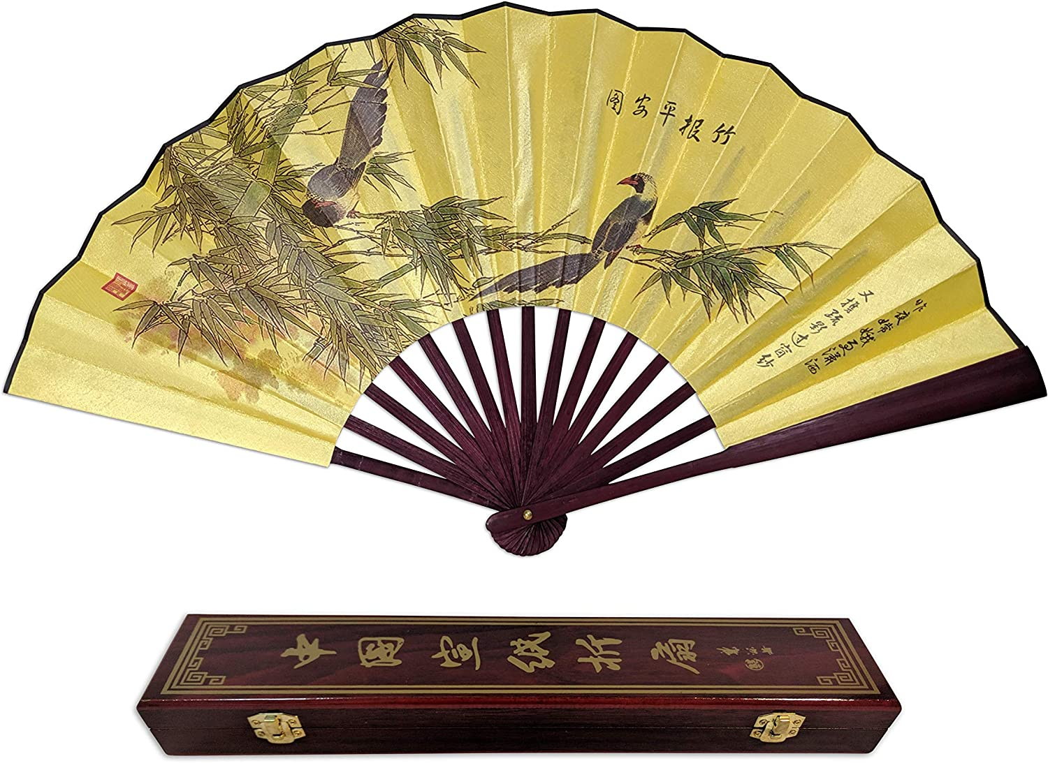 Amazon Com Folding Hand Fan Chinese Gifts Bamboo With Birds Large Quality Handheld Japanese Fans With Gift Box Kitchen Dining