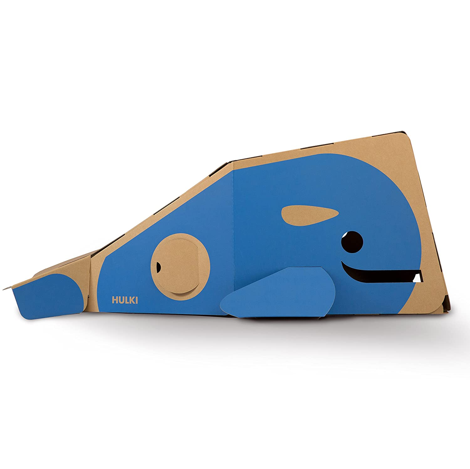 ECR4Kids Skipper the Whale Eco Eco Playhouse Ultra Strong Cardboard Play Structure for Kids Blue