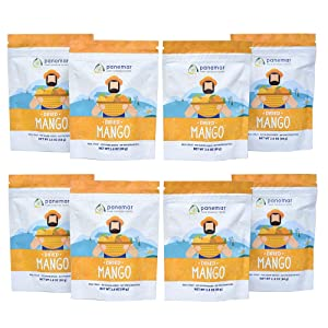 PANEMAR Healthy Snack Dried Mango. 100% NATURAL. NO SUGAR ADDED. 100% REAL FRUIT. No preservatives, gluten free, vegan. (Pack of 8 - 2.8 Oz each)