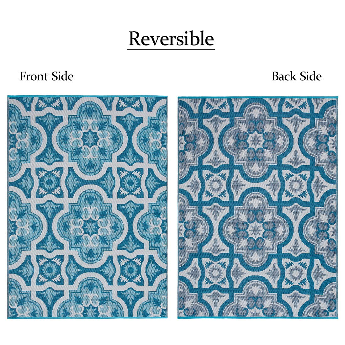 Reversible rug with different colors on each side.