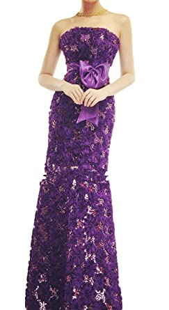 atopdress C10 lace flower fishtail Evening long prom sequined gown (14, purple)