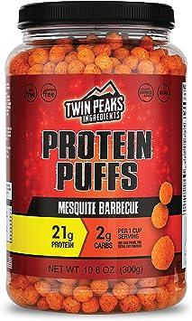 Twin Peaks es bajo en calorías, Protein Puffs es apto para alérgicos, Barbacoa de Mezquite (300g, 21g de proteína, 2g de carbohidratos, 120 calorías)