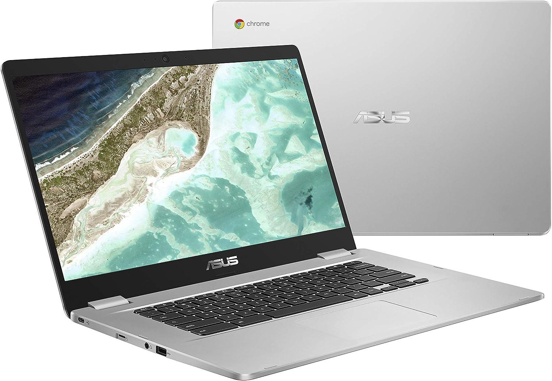 "ASUS Chromebook C523NA-DH02 15.6"" HD NanoEdge Display, 180 Degree, Intel Dual Core Celeron Processor, 4GB RAM, 32GB eMMC Storage, Silver Color (Renewed)"