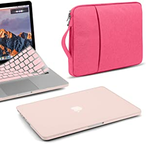 GMYLE MacBook Air 13 Inch Case A1466 A1369 Old Version 2010 2017, 13 13.3 Inch Handle Carrying Sleeve Bag and Keyboard Cover 3 in 1 Set (Pink & Rose)