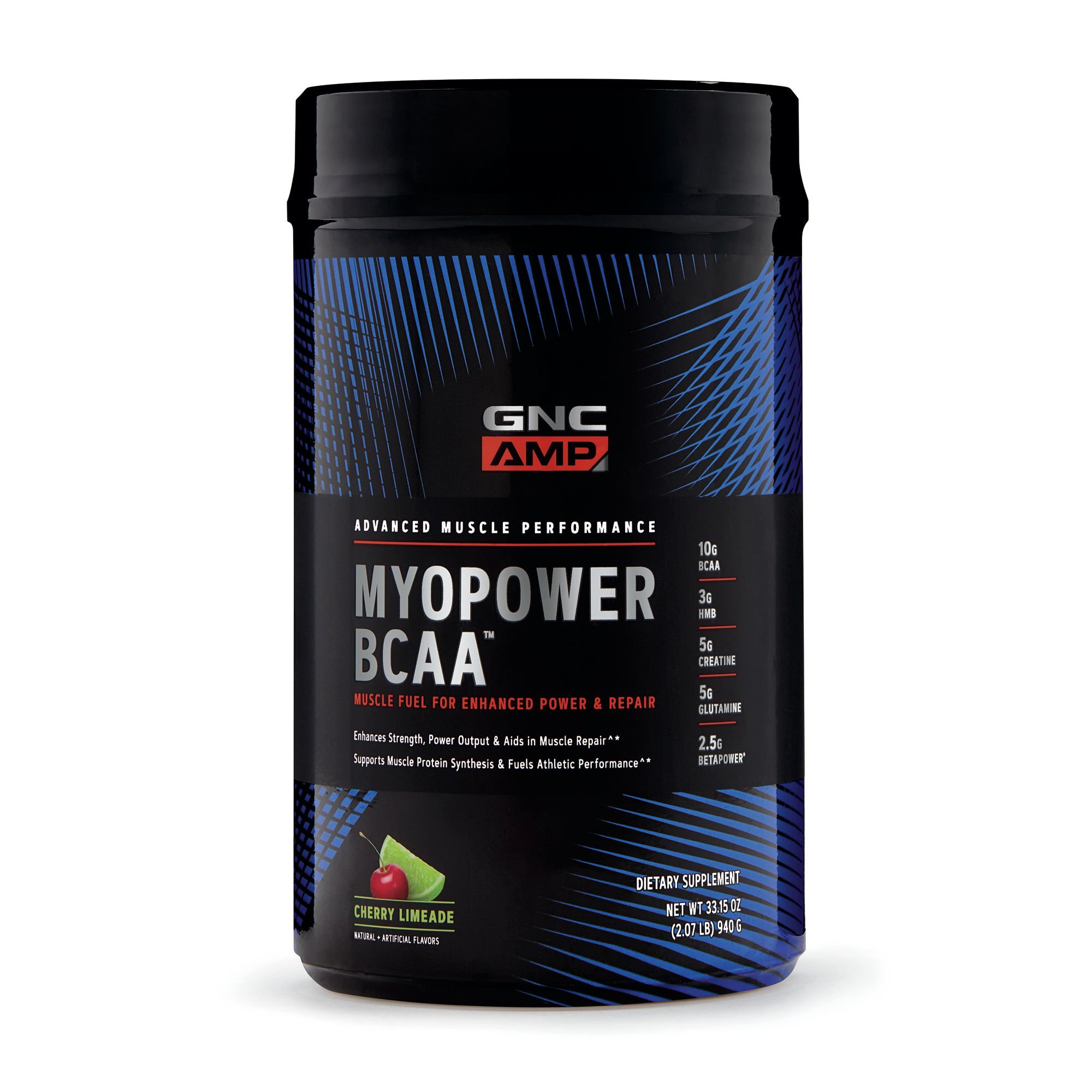GNC AMP MYOPOWER BCAA, Cherry Limeade, 20 Servings, Supports Muscle Protein Synthesis and Fuels Performance